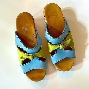DANSKO | blue & green slip on mules 37